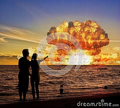 De test van de atoombom aangaande de oceaan