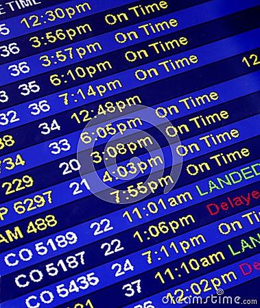 De Tijden van de aankomst bij een Teller van de Luchtvaartlijn