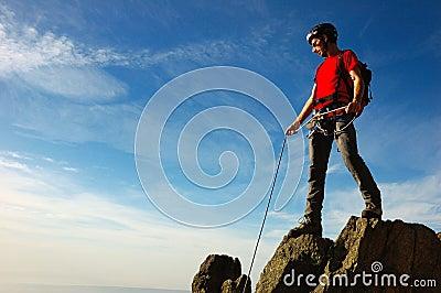 De top van de klimmer