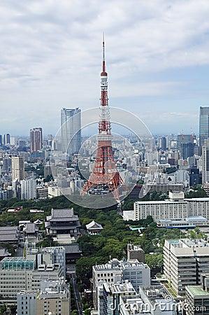 De toren en roppongiheuvels van Tokyo