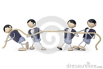 De touwtrekwedstrijd van de mens