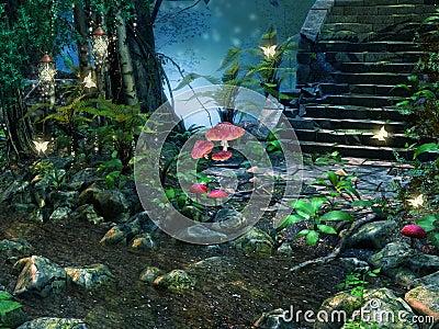 De treden van de steen in een bos