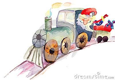 De trein van Kerstmis met de Kerstman