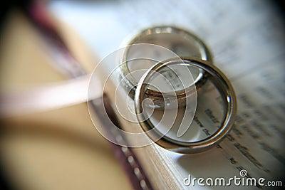 De trouwringen van het witgoud op bijbel