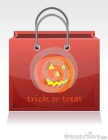 De truc van Halloween of behandelt zak