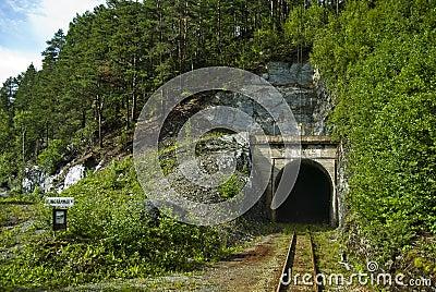 De tunnel van de spoorweg