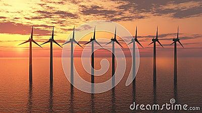 De turbinelandbouwbedrijf van de wind