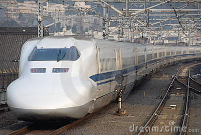 De ultrasnelle trein van Shinkansen in Japan
