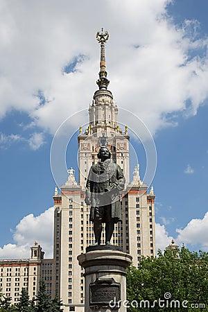De Universiteit van de Staat van Lomonosovmoskou, hoofdgebouw, Rusland