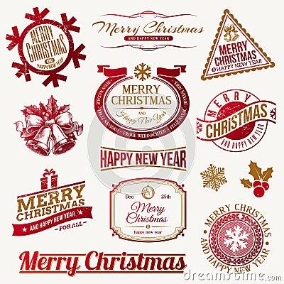 De vakantieemblemen en etiketten van Kerstmis