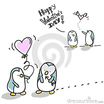 De valentijnskaart van pinguïnen