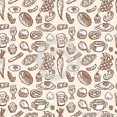 De VectorIllustratie van de voorraad: naadloos voedselpatroon