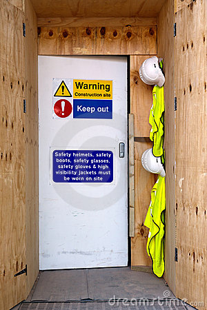 De veiligheidsberichten van de bouwwerfingang