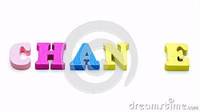 De verandering verandert in de vinger van de Kans vervangt kleurrijke brief 4k de lengte van het Concept stock footage