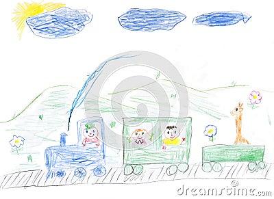 De verf gelukkige trein van kinderen met kinderen