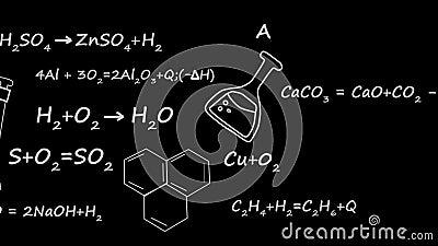 De vergelijking van de chemietheorie van de band van de elementenmolecule op zwarte achtergrond stock video