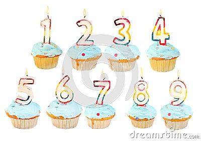 De verjaardagsreeks van de verjaardag cupcake