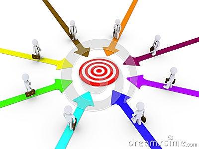 De verschillende wegen leiden de zakenlieden tot doel
