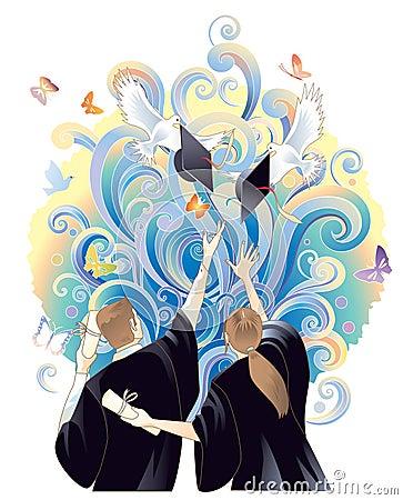 De viering van de graduatie