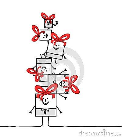 De vierkante familie van Kerstmis