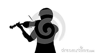 De violist presteert op een viool in een witte studio Witte achtergrond Silhouet stock footage