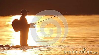 De visser vangt een vis Baad uw hond stock videobeelden