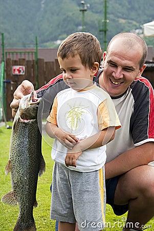 De visserij van de vader en van de zoon