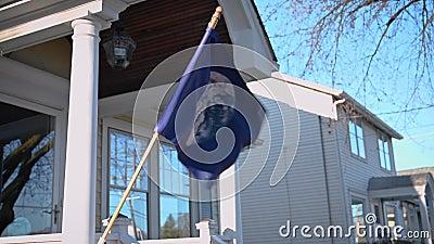 De vlag van de Dag van de Aarde zwaait in de wind stock video