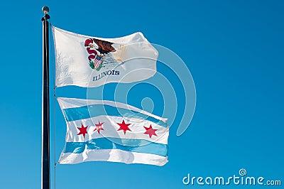 De Vlag van de Staat van Illinois en de Vlag van de Stad van Chicago