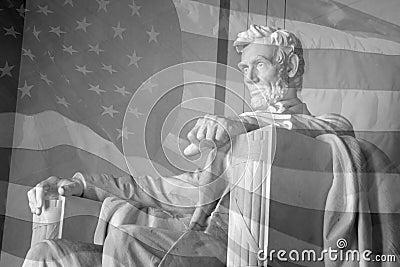 De Vlag van de V.S. & het Gedenkteken van Lincoln