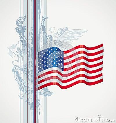 De vlag van de V.S. en Amerikaans symbool
