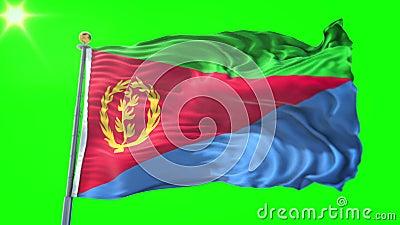 De vlag van Eritrea naadloze het van een lus voorzien 3D teruggevende video Het mooie textiel de lijn van de doekstof golven vector illustratie