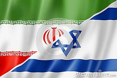De vlag van Iran en van Israël