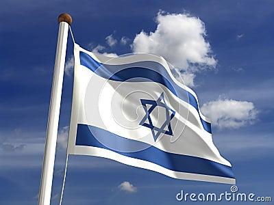 De vlag van Israël (met het knippen van weg)
