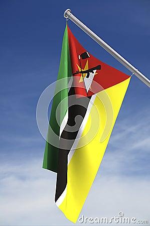 De vlag van Mozambique