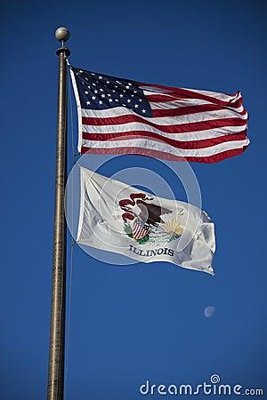 De vlaggen van de V.S. en van Illinois