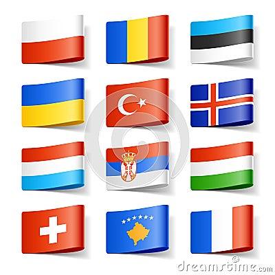 De vlaggen van de wereld. Europa.