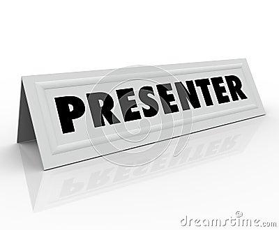 De Vlek van de de Gastspreker van presentatorname tent card