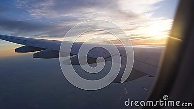 De vleugel van de vliegtuigen in de het plaatsen zon luchtreis, reis naar andere landen, luchtvaart en vervoer van stock videobeelden