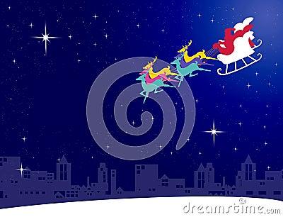 De vlieg van de Kerstman met zijn ar aan de stad