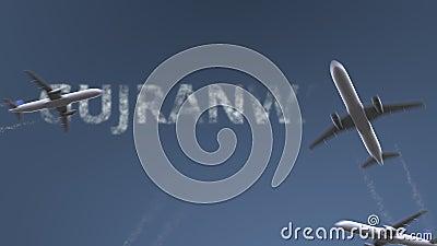 De vliegende vliegtuigen openbaren Gujranwala-titel Het reizen naar conceptuele introanimatie van Pakistan stock footage
