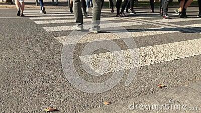 De voetgangers kruisen over weg door gestreepte in stadsstraat te kruisen stock footage