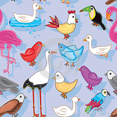 De vogels landen Naadloos Patroon