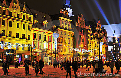 De Vooravond van het nieuwjaar in Wroclaw Redactionele Fotografie