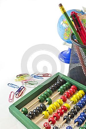 De voorwerpen van de school