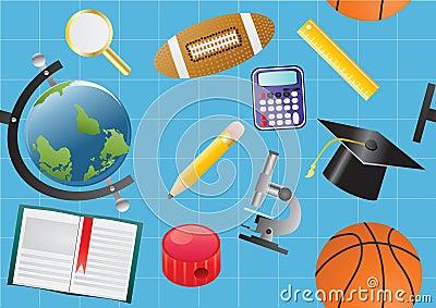 De voorwerpen van de school op blauw