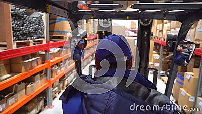 De vorkheftrucks zich bewegen tussen grote metaalplanken bij modern pakhuis met pallets met kartondozen, Logistiek stock footage