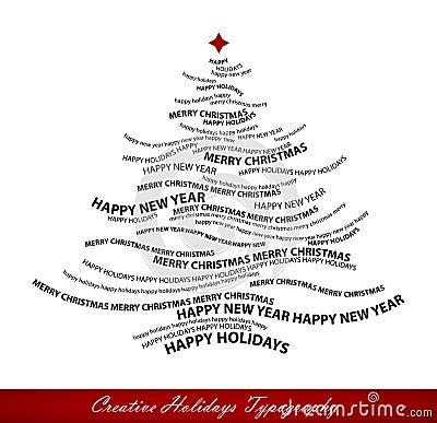 De vorm van de kerstboom van woorden
