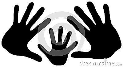 De handen van de familie