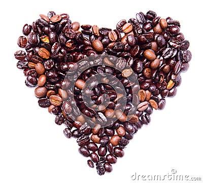 De vorm van het hart die door bos van koffiebonen wordt for Door het hart van china